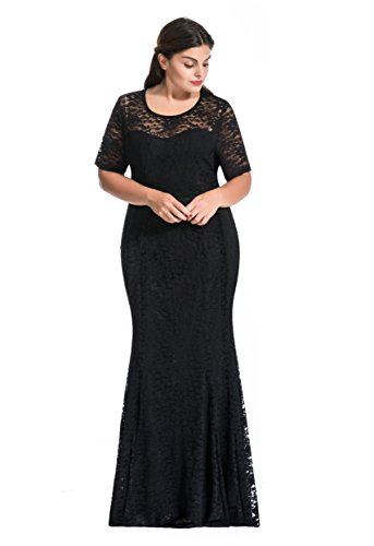 [Myfeel Women Plus Size Lace Ruched Empire Waist Sweetheart Mermaid Fishtail Cocktail Evening Dress] (Plus Size Evening Wear)