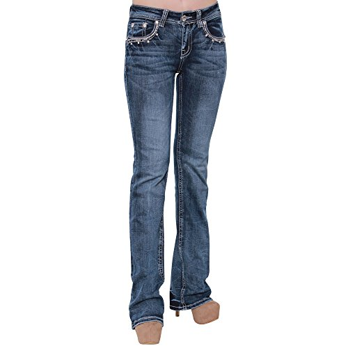 Embroidery Bootcut Womens Jeans - 1