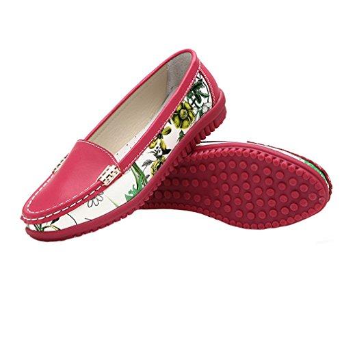 Giy Kvinners Klassiske Penny Loafers Flat Moccasin Rund Tå Slip-on Floral Casual Kjole Dagdriver Oxford Sko Rose Rød