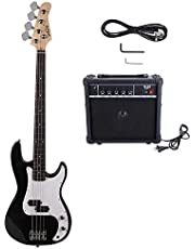 VERITS supplier for New Black Sunset Natural Blue Basswood 4 Strings Electric Guitar Bass W/ 20W AMP DIY for outdoor, home & garden - Color is Black
