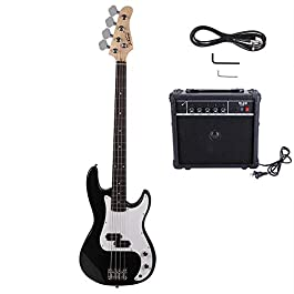 VERITS supplier for New Black Sunset Natural Blue Basswood 4 Strings Electric Guitar Bass W/ 20W AMP DIY for outdoor…