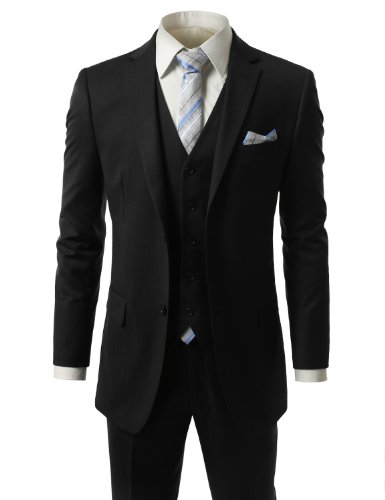 IDARBI Mens Regular-Fit Two Button Vested Solid Double-vented Striped Suit