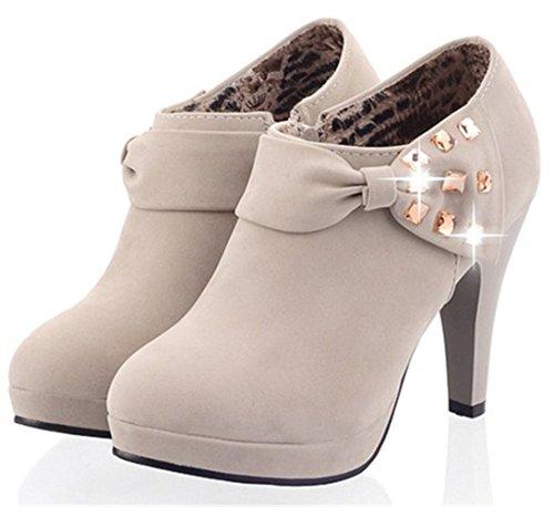 Anlarach Damen Frühling Bowknot High Heel Niedrige Oberseite Knöchel Reißverschluss Wrap Stiefel Plattform Kleid Schuhe Grau
