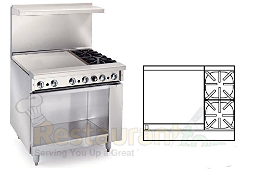 Imperial Commercial Restaurant Range 36'' 2 Burners 24'' Griddle Cabinet Base Propane Ir-2-G24-Xb-P by Imperial