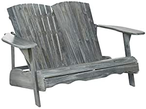 Liquid Pack Solutions Oval & Heart Style Garden Bench in Ash Gray Color Made Acacia Wood Seating Capacity 2