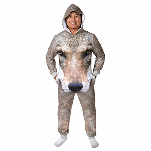 Unisex-Adult Sublimated Animal Print Full Body Jumpsuit - Wolf - Large (Funny Onesie Adults)