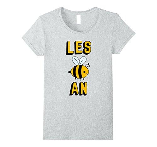 Womens Lesbian T Shirt - Lesbian Bee - Les Bee An XL Heather Grey