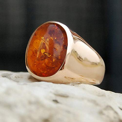 (925 Solid Sterling Silver Ring, Baltic Amber Men Ring, Handmade Jewelry, Mens Gemstone Ring, Rose Gold Vermeil Ring, Signet Rose Gold Ring, Birthday Gift Ring)