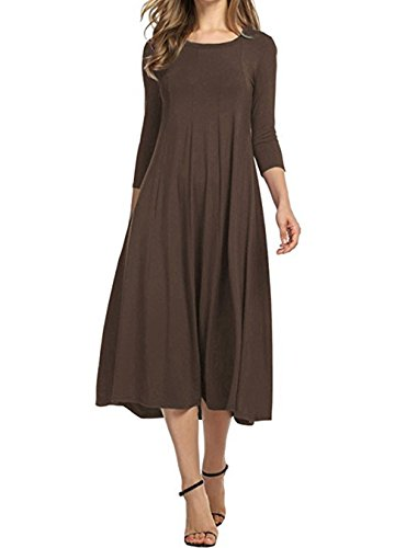 Drewliet Women's Casual 3/4 Sleeves Party A-Line Pleated Midi Swing Long Dress Coffee