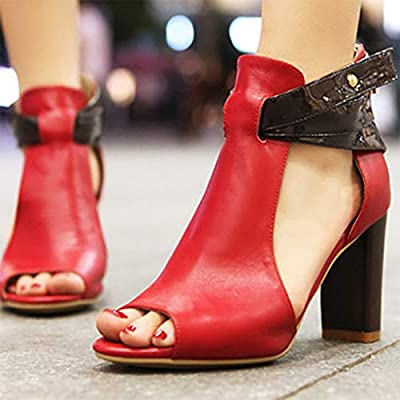 7f0c88df6e9 Red Ta Womens Fish Mouth High Heel Zipper Sandals Leather Short Boots  Single Shoes