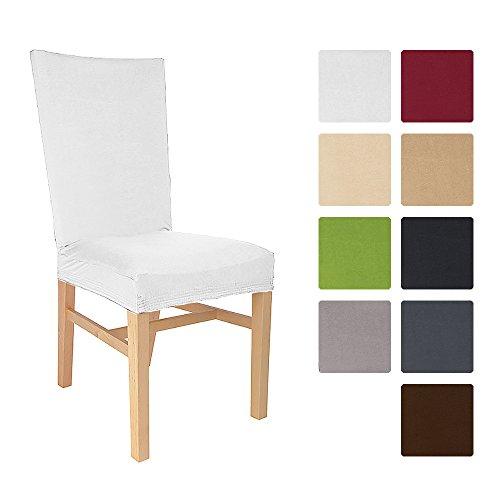 Beautissu® Stuhlhusse Emma - 45x45 cm Stretch-Stuhlbezug aus Baumwolle - Bi-Elastic Husse - ÖKO-TEX - Weiß