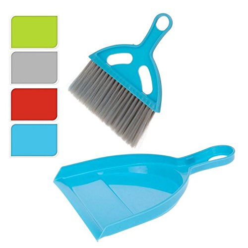 Colourful Flat Plastic Dustpan & Brush Table Sweeper Set Home Cleaning Espice