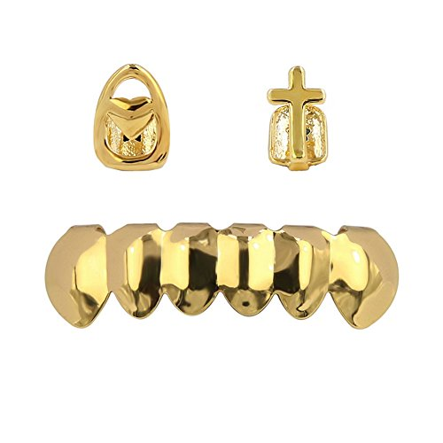 TOPGRILLZ Hip Hop Gold Plated Mouth Grillz Set 2pcs Single Top& 6 Teeth Bottom Set Gold Grillz (Cross&Heart Set) from TOPGRILLZ