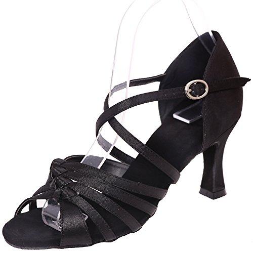 Loslandifen Dames Open Teen Dansschoenen Hoge Hak Salsa Tango Latin Sandalen Zwart-a