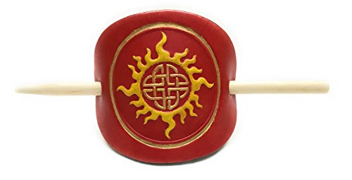Gothic Lord Adult Costumes (Leather Celtic Red Sun Small Hair Barrette Ponytail Holder with Stick)