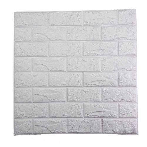PrecisionDecor 3D Brick Wall Stickers Panel Self-Adhesive Peel and Stick White Faux Brick for Wall Decor 30X28INCH (20 PC) by PrecisionDecor (Image #3)