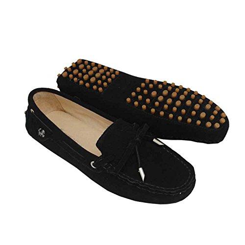 Minitoo - Mocasines para para mujer, estilo Casual, ante, con lazo negro