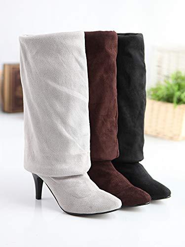 HOESCZS Stiefel Damen Woherren Herbst Und Winter Vielseitige Hochhackige Knie Lange Stiefel Elastische Ritter Stiefel Große Größe Frauen Stiefel
