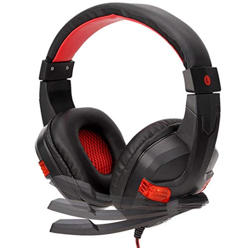 Price comparison product image Buybuybuy Gaming Headset with Mic, Noise Cancelling Over Ear Headphones with Mic,  LED Light Bass Surround Soft Memory Earmuffs for Computer Laptop Mac Nintendo Switch Games (Red)