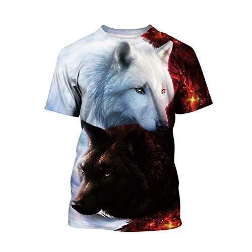 (Tsyllyp Boys Girls 3D Printed Graphic T-Shirt Kids Wolf Short Sleeve Tee Shirts )