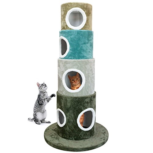 FrontPet Stackable Multi-Color Cat Tree Climbing Tower, 4 Stackable Cylinders for Your Cat to Play