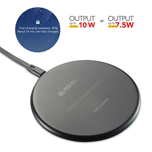 iREIZTEC Wireless Charger Pad, 7.5W Fast Wireless Charger for iPhone X 8 8 plus, 10W Fast Wireless Charger for Galaxy S9 S8 S7 S6 Edge Plus Note 8, and other Qi-enabled devices, no AC Adapter (black)