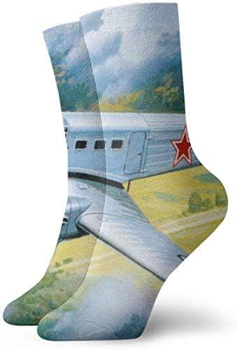 レトロ飛行機塗装通気性足首ソックス30センチ綿運動クルーソックス男性、女性、子供用