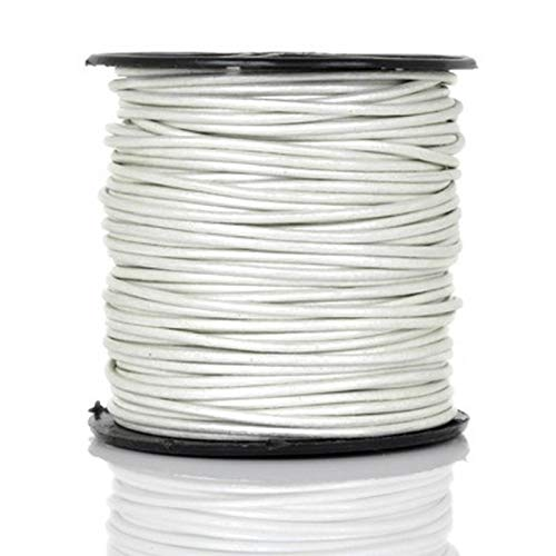 Leather Cord-3mm Round-Metallic Pearl-Soft-50 Meter Spool