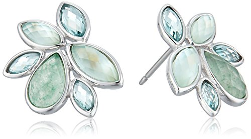 [Judith Jack Sterling Silver and Green Cluster with Swarovski Marcasite Stud Earrings] (Judith Jack Marcasite)