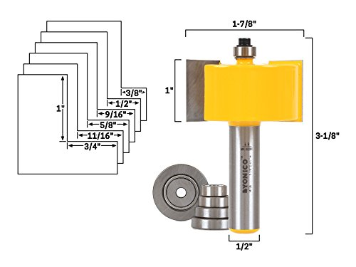 Yonico 14706 Large Rabbet Router Bit & Bearing Set 1/2-Inch Shank