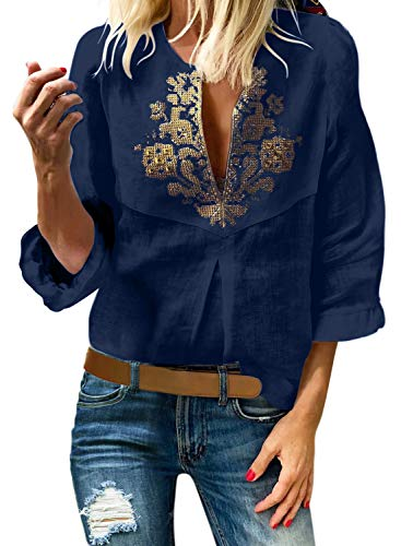 Aleumdr Womens Casual Boho Embroidered V Neck 3/4 Sleeves Shirts Loose Blouse Tops S-XXL