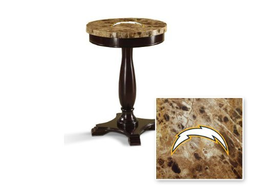 Round Top Espresso / Cappuccino Finish Night Stand End Table with Faux Marble Table Top Featuring Your Favorite Football Team Logo! (Chargers)