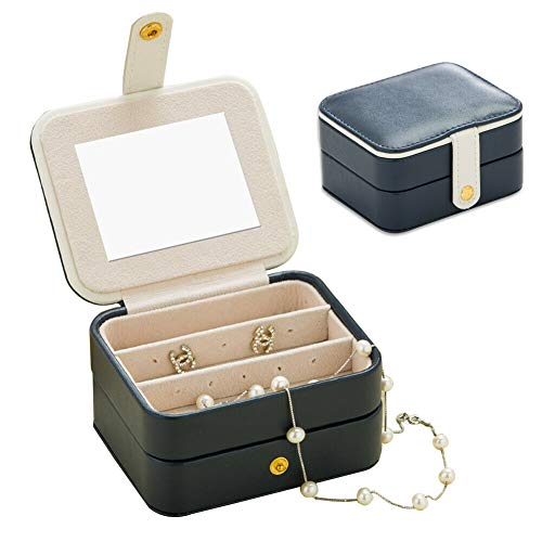 Naswei Jewelry Organizer Box Travel Portable Jewelry Storage Case Accessories Holder Pouch Bulit-in Mirror with Environmental Faux Leather for Earring,Lipstick,Necklace,Bracelet,Rings Navy Blue