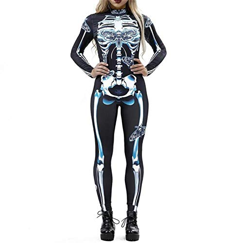 Costume Halloween Femme Xl (Women Vintage Skeleton Rose Print Scary Costume Black Skinny Jumpsuit Bodysuit Halloween Cosplay Suit Stretchy Outfit Femme COS,Style)