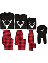 Matching Family Pajamas Sets Deer Long Sleeve Tee and...