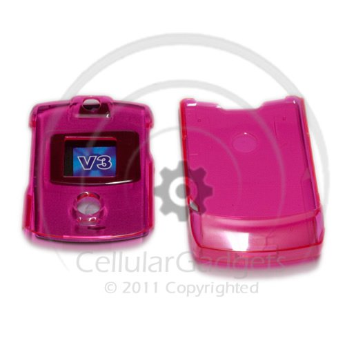 PREMIUM CRYSTAL HOT PINK Faceplate / Case / Cover for Motorola RAZR V3 /V3c / V3m/ V3i