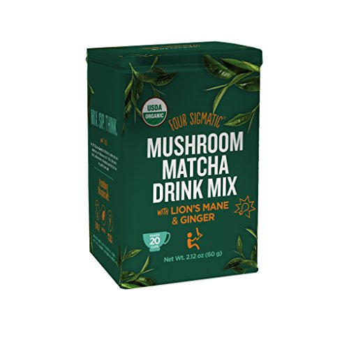 Four Sigmatic Organic Mushroom Matcha with Lion's Mane and Ginger For Brain Health and Digestion, Vegan, Paleo, 60 Gram (Four Beverages)