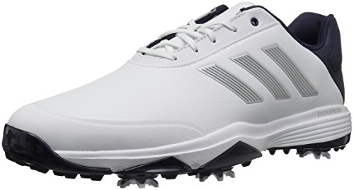 adidas Men's Adipower Bounce Golf Shoe, White/Silver Metallic/Noble Ink, 10 M US