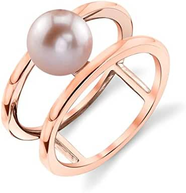 7mm Pink Freshwater Cultured Pearl Rose Plated Ora Ring