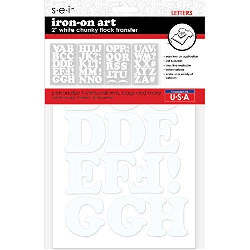 (Sei 2-inch Chunky Flock Letters Iron on Transfer, White, 4-Sheet)