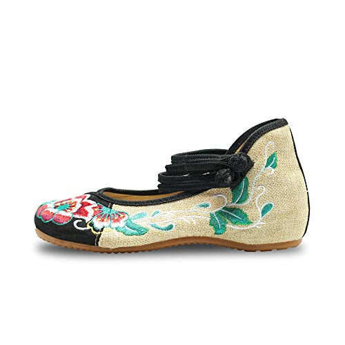 CINAK  Embroidered Shoes Chinese Womens Embroidered Flowers Comfortable Loafers Ballet Slip On Style Cheongsam Flats