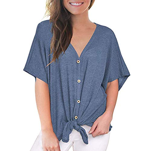 Witspace Womens Loose Blouse Short Sleeve V Neck Button Down T Shirts Tie Front Knot Tops
