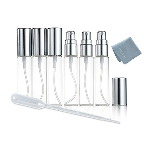 Clean Cologne Spray (Elfenstal- NEW 6pcs Mini Clear 10ml 1/3OZ Atomizer Glass bottle Spray Refillable Fragrance Perfume Empty Scent Fine Mist Bottle Clean Cloth for Travel Party Portable Makeup Tool free Pipette)