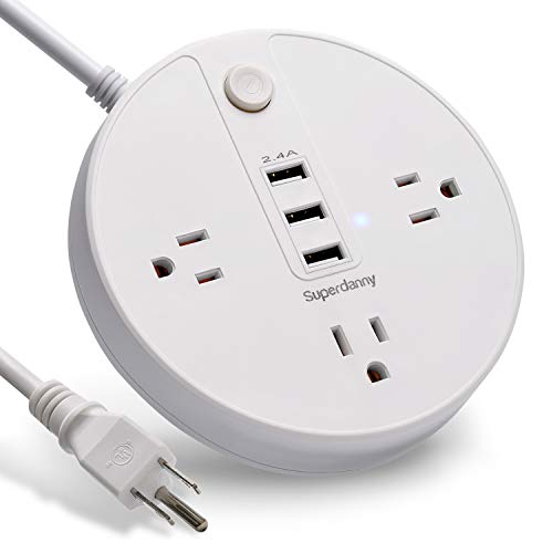 USB Surge Protector Extension Cord 6.5 FT Power Strip 3 Outlets 2.4A Fast Charging Station 2400W 10A for iPhone iPad Samsung Laptop Computer Home Office Travel Bedside Nightstand Round White - Equipment Extension Power Ul Cord