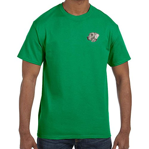 Cherrybrook Dog Breed Embroidered Mens T-Shirts - X-Large - Irish Green - Weimaraner