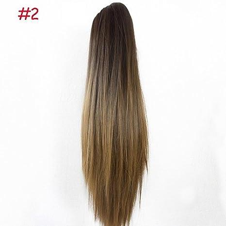 Extensión con coleta, pelo largo y liso, que se agarra con clip de tipo garra, de Women Fashion Greenlans