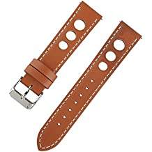 Ivystore 20mm 22mm 24mm 3 Holes Genuine Italian Leather Rally Racing Sport Watch Strap with Quick Release Spring Bar And Stainless Steel Buckle (24mm, Red.Brown)
