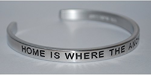 Home Is Where The Anchor Drops |:| Engraved Handmade Jewelry Bracelet Silver Color
