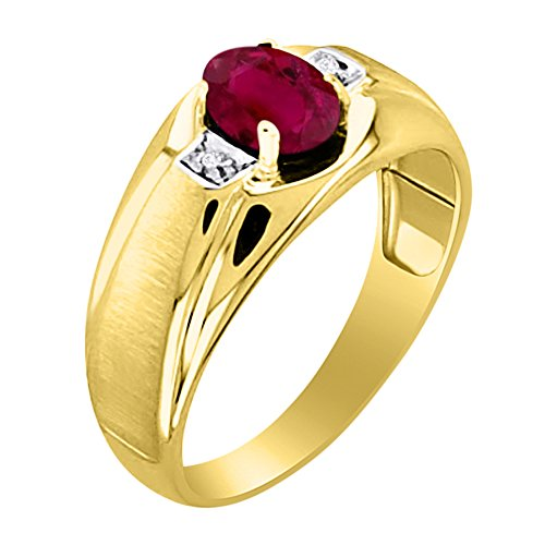 Mens Ruby & Diamond Ring 14K Yellow Gold Band