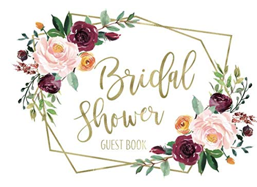 Bridal Shower Guest Book: Boho Gold Geometric Floral Guest Book And Gift Recorder